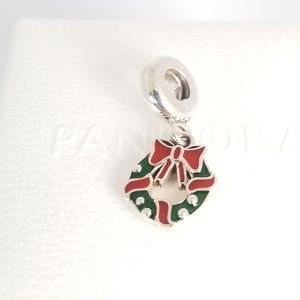 Pandora Holiday Wreath Dangle Charm Christmas